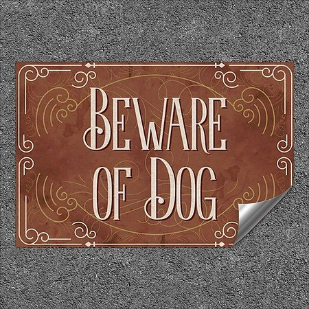 CGSignLab | ''Beware Of Dog -Victorian Card'' Heavy-Duty Industrial Self-Adhesive Aluminum Wall Decal (5-Pack) | 36''x24''