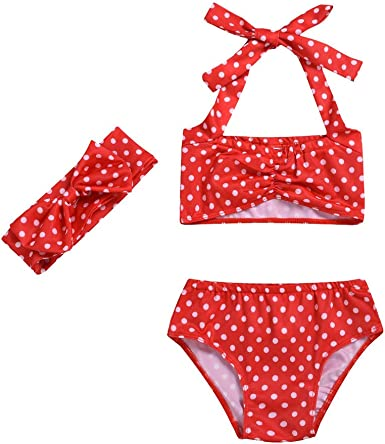 KONFA 3 Pieces Swimsuit Little Kid Baby Girls Beach Sun Protection Swimwear Floral Tops+Ruffled Shorts+Headband Bathing Suit