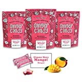 Gem Gem Ginger Candy Chewy Ginger Chews (Mango, 3.5oz (100g), Pack of 3) | Real Indonesian Ginger | Gluten Free | Non GMO | All Natural | Kettle Cooked | Vegan
