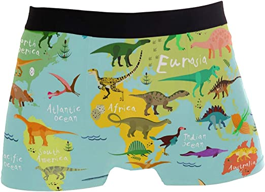 Dino Love Printed Mens Solid Ultra Soft Underwear Cotton Underwear Boxer Brief