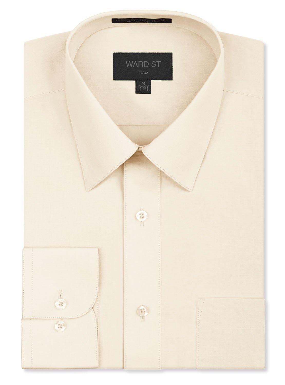 Ward St Men's Regular Fit Dress Shirts, Large, 16-16.5N 34/35S, Ivory