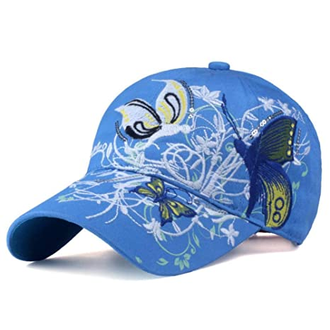WYLBQM Sombrero Gorras de béisbol Nuevo Mariposas Flores Bordados ...