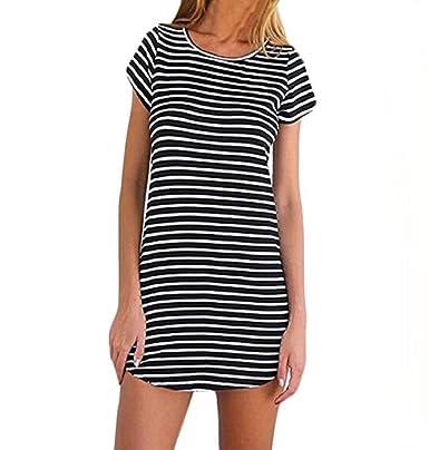 ZEZKT Bekleidung Damen Kleider Sommer Gestreift Party Strand T-Shirt-Kleid  Oversize Longshirt Jumpsuits 0b3bd8c2ae