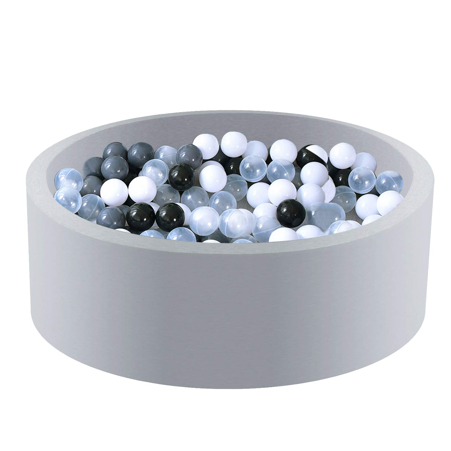 Triclicks Deluxe Kids Ball Pit Kiddie Balls Pool Soft Baby Playpen Indoor Outdoor - Ideal Gift Play Toy for Children Toddler Boys Girls (Grey Ball Pool with Grey/White/Black/Transparent Balls)