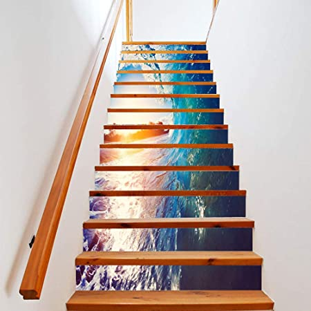 Escalera Hogar Pegatinas De Moda Escaleras Creativas Decorativas Etiqueta De La Pared Wave Rolling Landscape Sticker: Amazon.es: Hogar