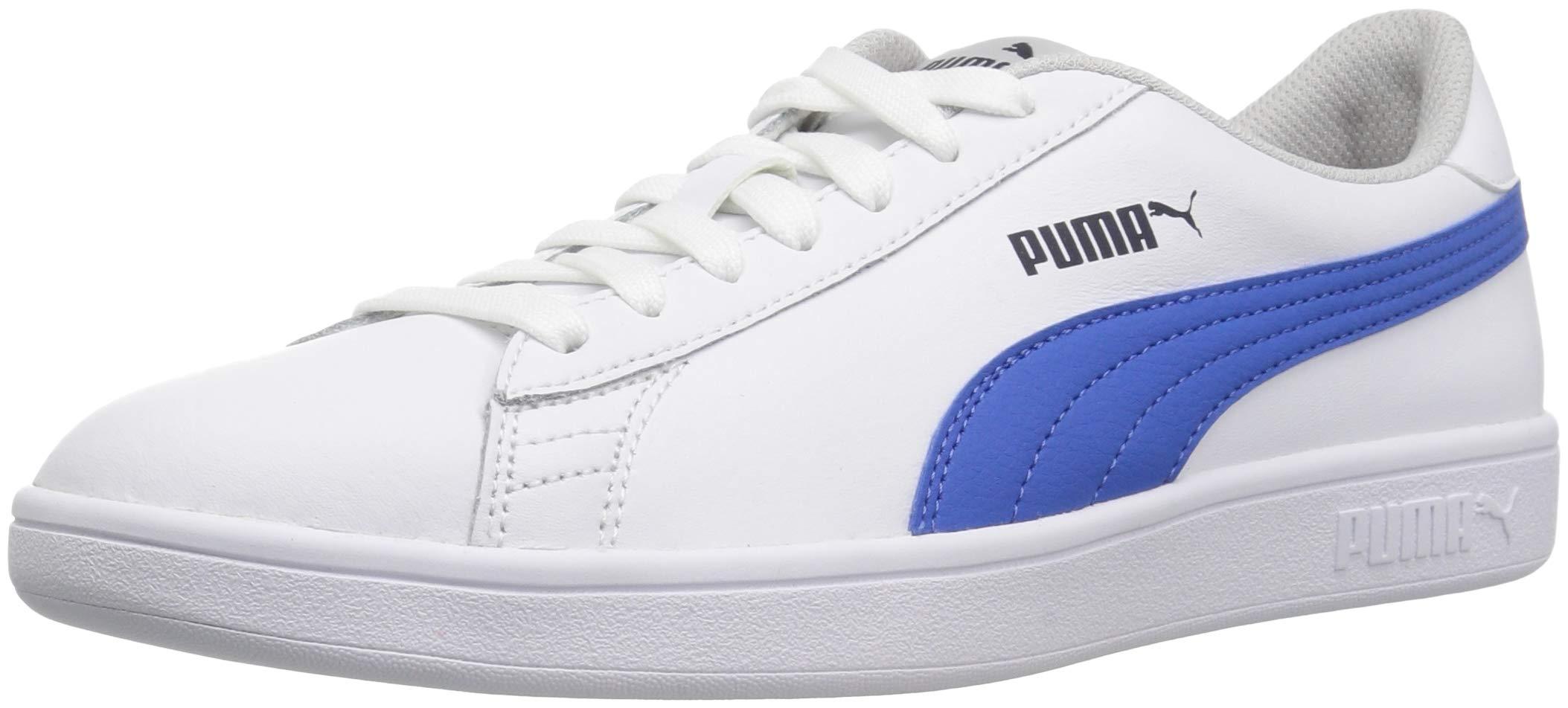 PUMA Unisex-Kids Smash Leather Jr Sneaker, White-Strong Blue-Peacoat-Gray Violet, 4.5 M US Big Kid
