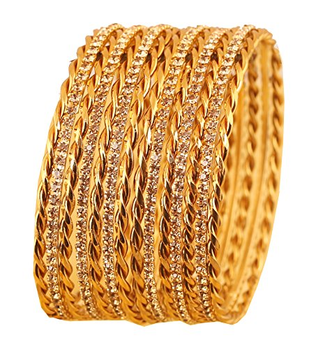 Touchstone NEW Golden Bangle Collection Indian Bollywood Beautifully Braid Theme Yellow Rhinestone Designer Jewelry Bangle Bracelets Set of 14. In Antique Gold Tone For Women. Bangle Yellow Jewelry Set