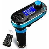 iFormosa シガーソケット MP3プレーヤー FMトランスミッター USB SDカード対応 LCD液晶付き ブルー IFT66-B