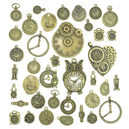 Antiqued Bronze Clock Face Charm Pendant, JIALEEY Wholesale Bulk Lots Mixed Gears Steampunk Charms Pendants DIY for Necklace Bracelet Jewelry Making and Crafting, 100g(38PCS) -