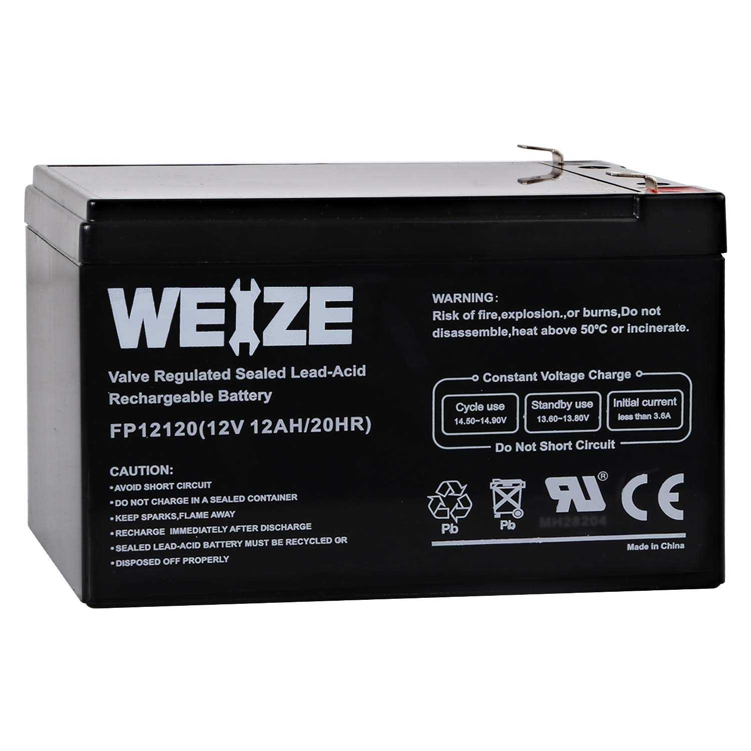 Weize 12V 12AH Sealed Lead Acid (SLA) AGM Deep Cycle Rechargeable Battery by WEIZE