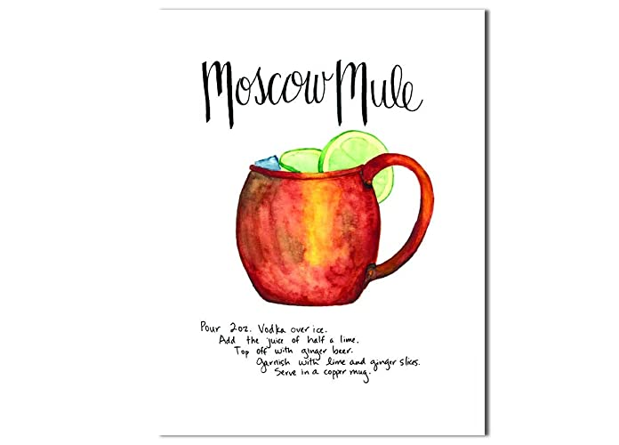 photo regarding Moscow Mule Recipe Printable named Moscow Mule recipe artwork print, Kitchen area or bar wall decor, Against first watercolor and ink portray