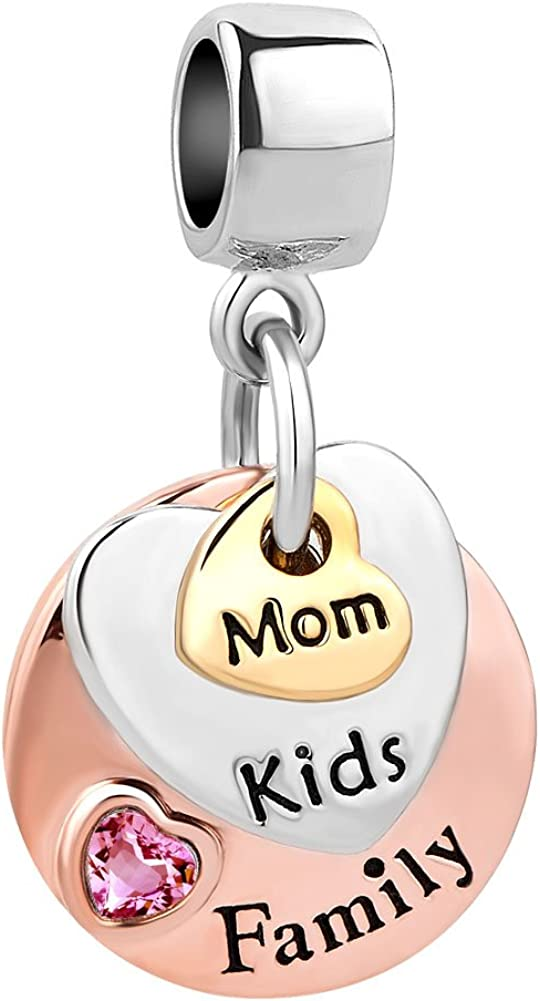 CharmSStory Mom Kids Child Family Charms Rose Gold Dangle Beads for Bracelets Necklaces