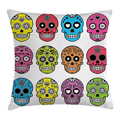 ZQKCMY Skull Throw Pillow Cushion Cover, Ornate Colorful Traditional Mexian Halloween Skull Icons Dead Humor Folk Art Print, Decorative Square Accent Pillow Case, 18 X 18 inches, Multicolor -