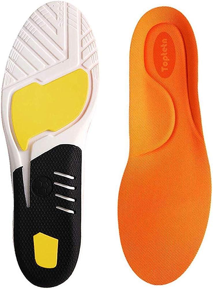 TOPTETN Inserciones de fascitis plantar, plantillas de zapatos ortopédicos para hombres y mujeres, plantillas de confort atlético Absorción de choque adicional Plantillas de trabajo (L:41-45)