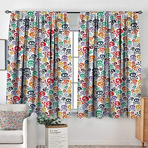 Mozenou Skull Custom Curtains Halloween Themed Colorful Skulls and Crossbones Funny Cartoon Style Pattern Print Thermal Blackout Curtains 63