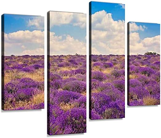 LAVENDER FIELD PICTURE PRINT ON WOOD FRAMED CANVAS WALL ART HOME DECORATION