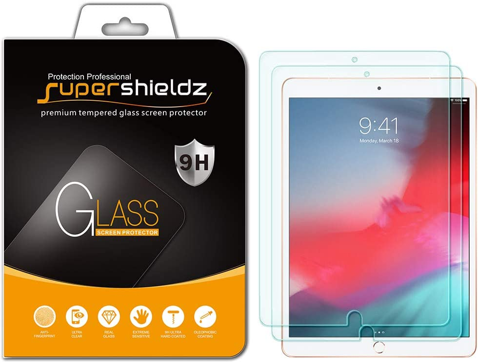 (2 Pack) Supershieldz for Apple iPad Air 3 (10.5 inch 2019 Model, 3rd Generation) and iPad Pro 10.5 inch Screen Protector, (Tempered Glass) Anti Scratch, Bubble Free