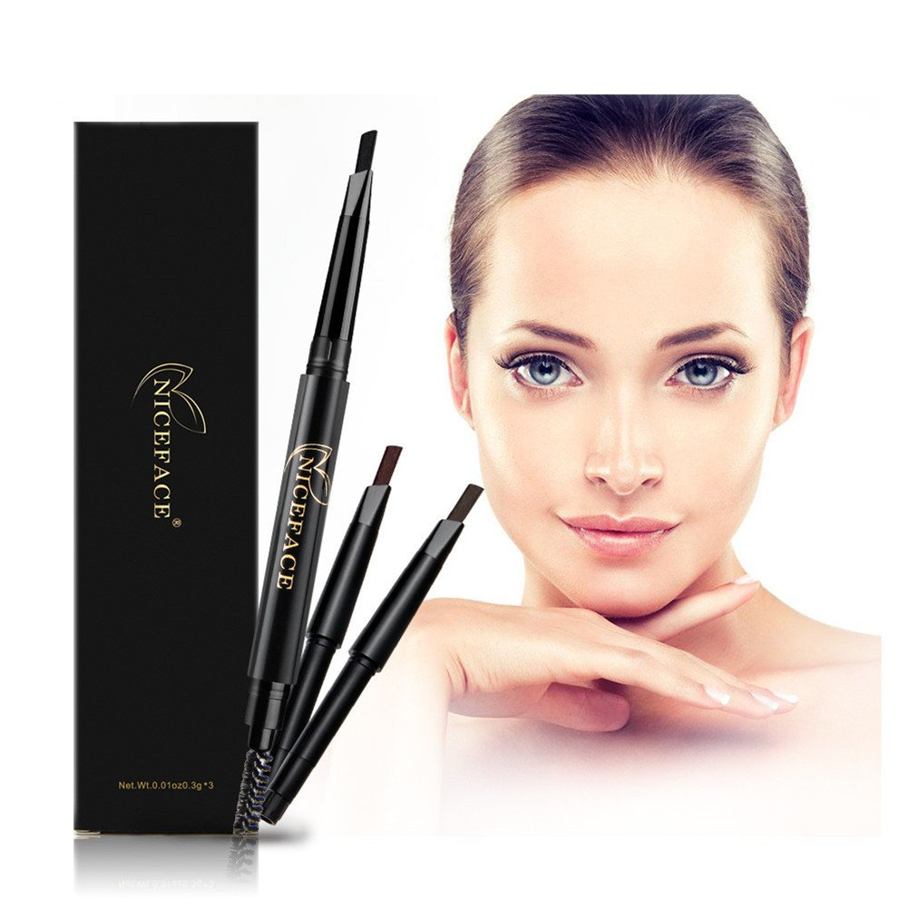 Eyebrow Pencil Eye Brow Brush with 3 Colors Replaceable Brow Pencil Waterproof Double-Headed Pencil, Black, Dark Brown, Light Brown (Black, Coffee, Gray)