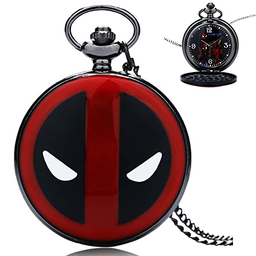 Watch for Kids, Cartoon Deadpool Pocket Watch with Spiderman Dial Quartz Necklace Chain, Boys