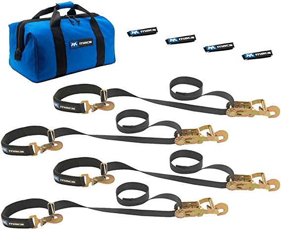 10,000 lb Load Capacity Macs Tie Downs 121736 Black 36 x 2 Axle Strap with Delta Ring and Protective Sleeve