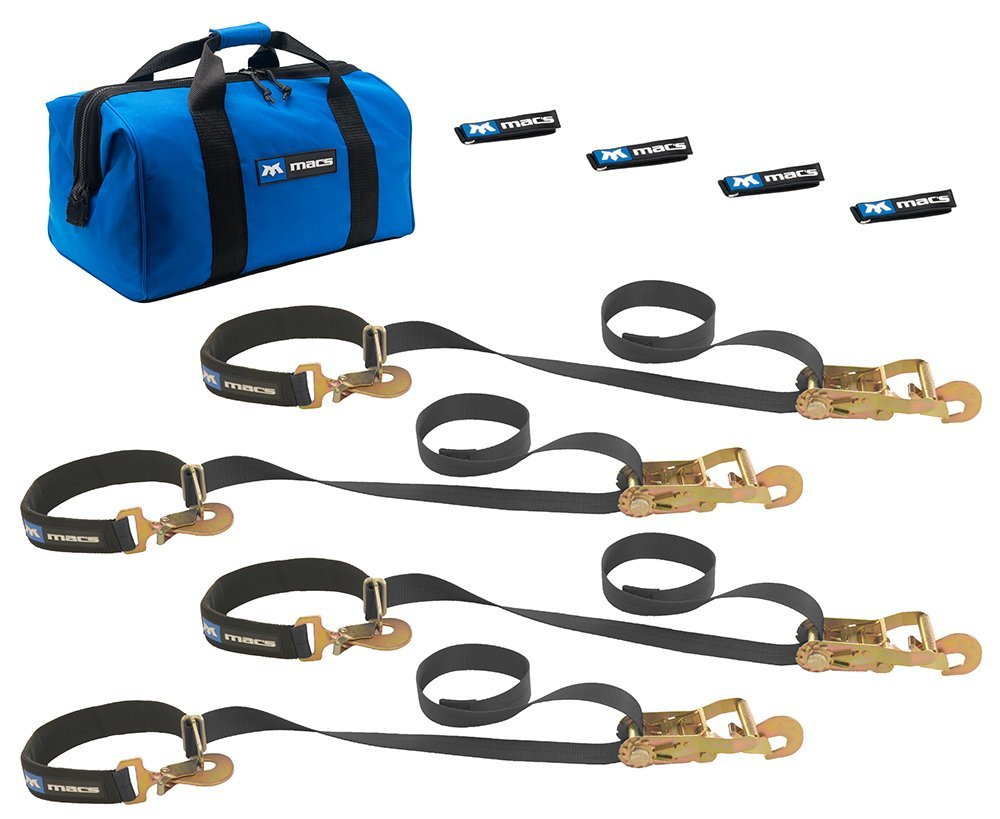Mac's Tie-Downs 511118 Black Super Pack with 8' x 2'' Direct Hook Combination Axle Straps by Mac's