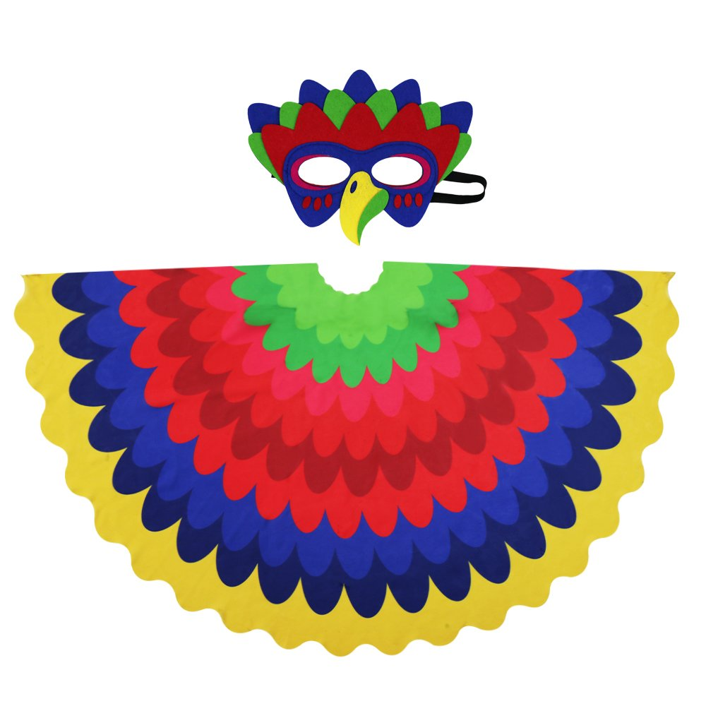 Kids Fairy Bird Wings Costumes Feathered for Boys Girls Boys Dress up Party Decoration with Bird Mask(#1 Multicolor)