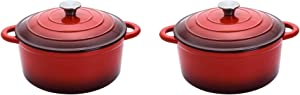 Hamilton Beach 5.5 Qt. Enameled Iron Covered Round Dutch Oven Pot, Red (2 Pack)