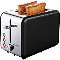 Bonsenkitchen Wide Slot 2-Slice Black Stainless Steel Toaster, Defrost/Bagel/Cancel Functions, Compact Kitchen Toaster with 7 Browning Settings