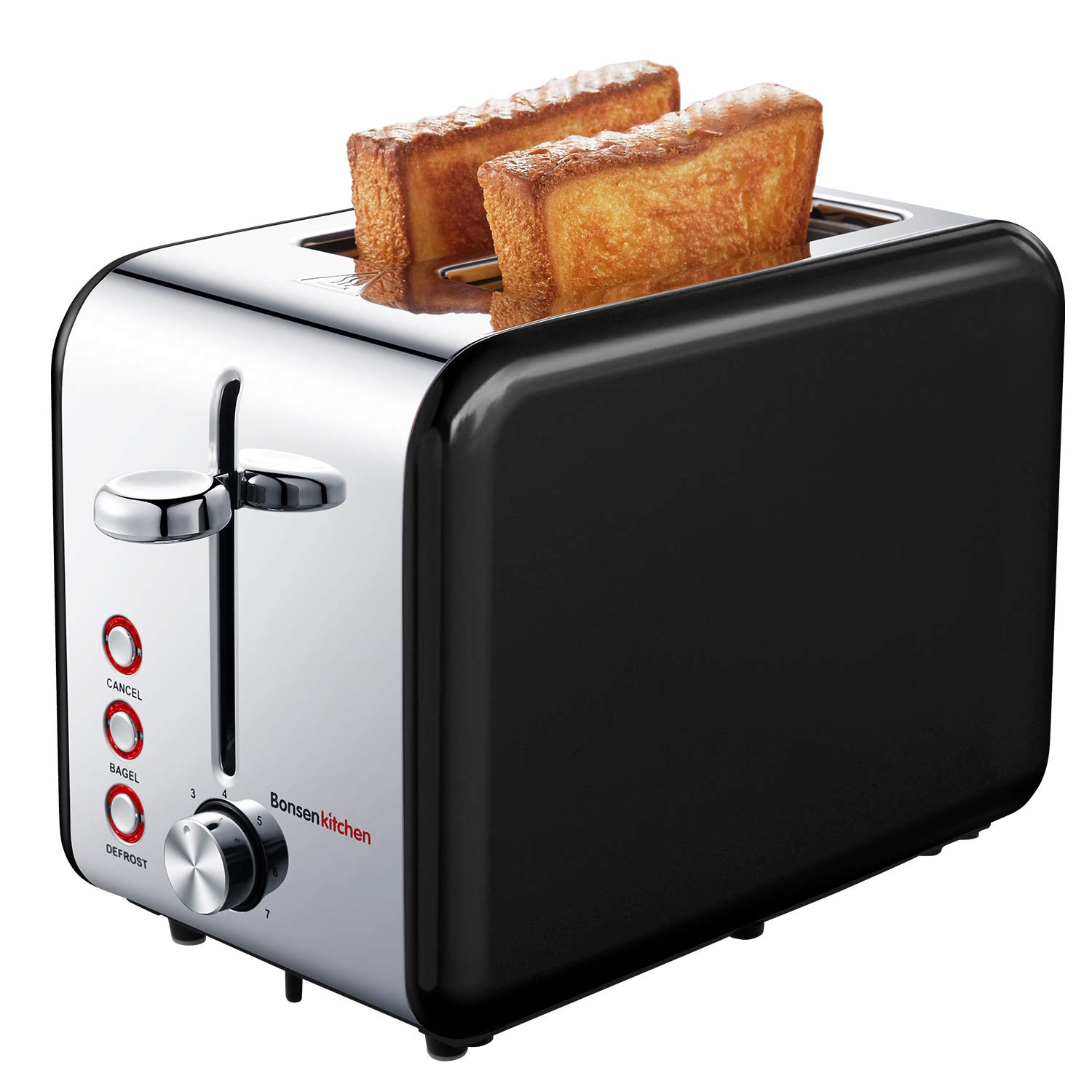 Bonsenkitchen 2-Slice Wide-Slot Toaster with Chrome Stainless Steel Housing, Defrost/Bagel/Cancel and Bread Jam Proof Function, 7 Browning Settings (Black)