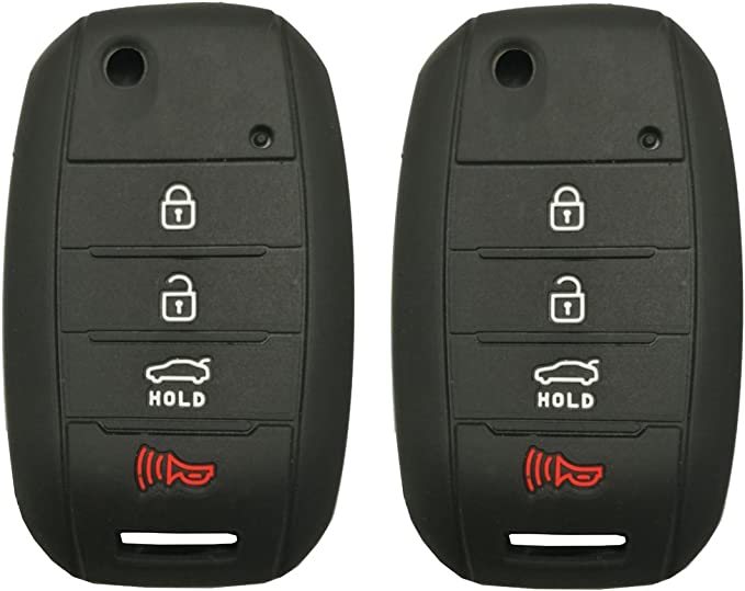 2Pcs WERFDSR Sillicone key fob Skin key Cover Keyless Entry Remote Case Protector Shell for Kia Sorento Sportage Rio Soul Forte Optima Carens Rose 4 button smart remote black