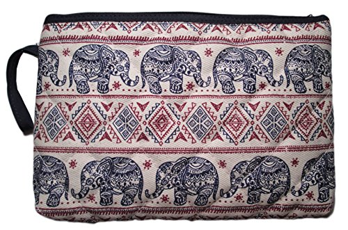 Makeup Cosmetic Bag Travel Pencil Pen Case Purse Pouch Elephant Canvas Unique Handmade (Blue  Red)