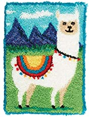 Latch Hook Rug Kits Latch Hook Kit DIY Mat Carpet Tapestry Crochet Yarn Kits Pre-Printed Pattern Canvas Rug Making Crafts for Adults and Beginners,Alpaca