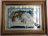 Unique Art 26-Inch Cross with Frame Pearl Ocean Gemstone World Map with Frame