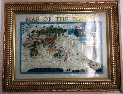 Gemstone Map - Unique Art 26-Inch Cross with Frame Pearl Ocean Gemstone World Map with Frame