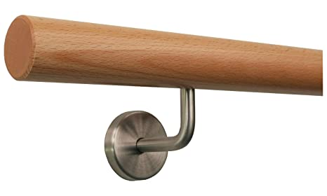 Radius gefr/äst Buche Handlauf Treppen Gel/änder Handl/äufer 30-500 cm aus einem St/ück mit Halter St/ützen Tr/äger und bearbeiteten Enden 90 cm L/änge mit 2 Haltern und Endst/ück