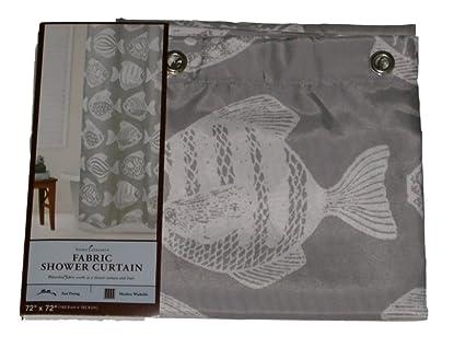 Home Classics Gray White Fish Fabric Shower Curtain Bath