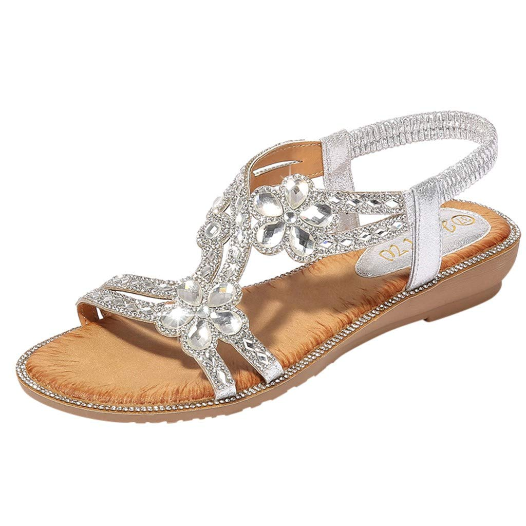 Newlyblouw 2019 New Women Boho Flower Crystal Flat Sandals Ladies Summer Casual Fashion Peep Toe Diamond Beach Shoes Silver
