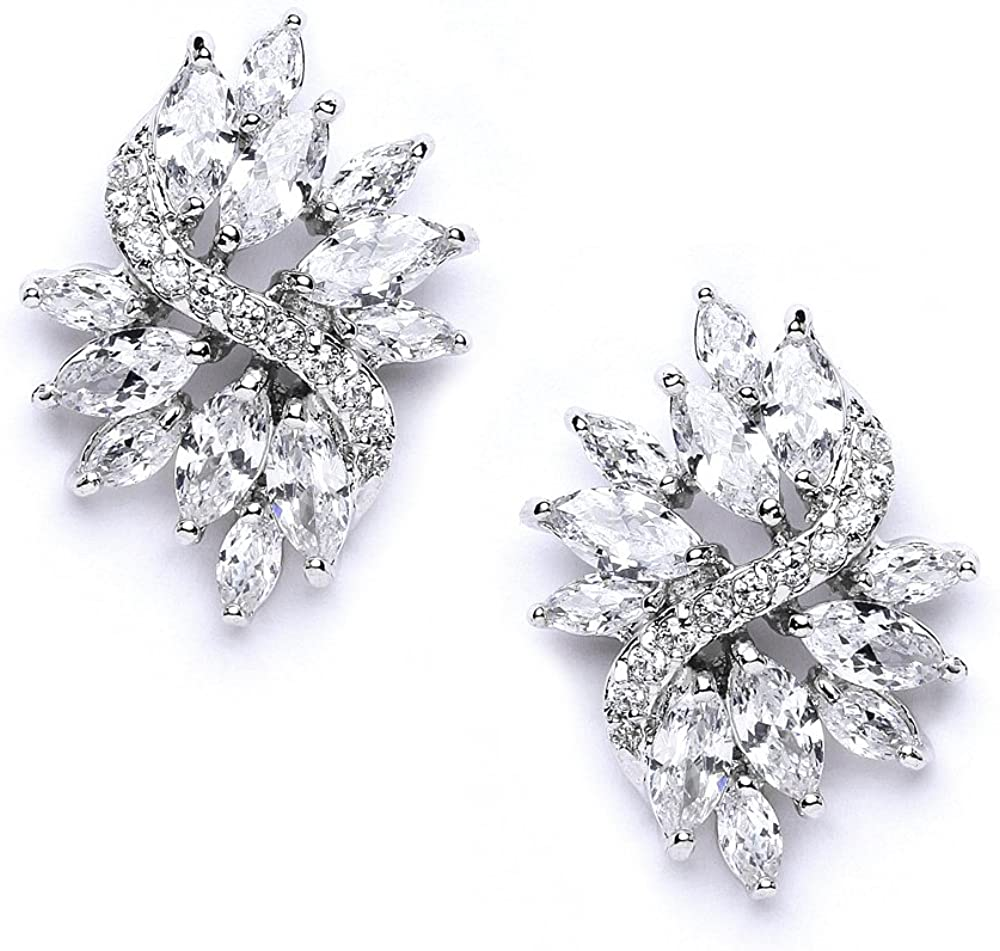 Mariell Cubic Zirconia Bridal Wedding Earrings with Marquis-Cut CZ Clusters Plated in Genuine Platinum