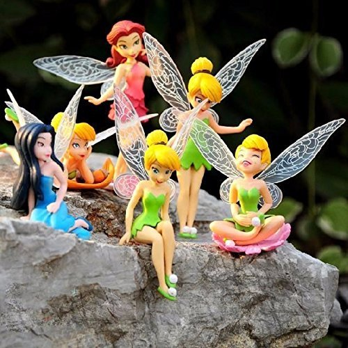 6pcs/set Anime Baby Toy Gift Tinkerbell Dolls Flying Fairy Adorable Tinker Bell Mini Toys Flower Pretty Doll (Tinker Bell Shoes)