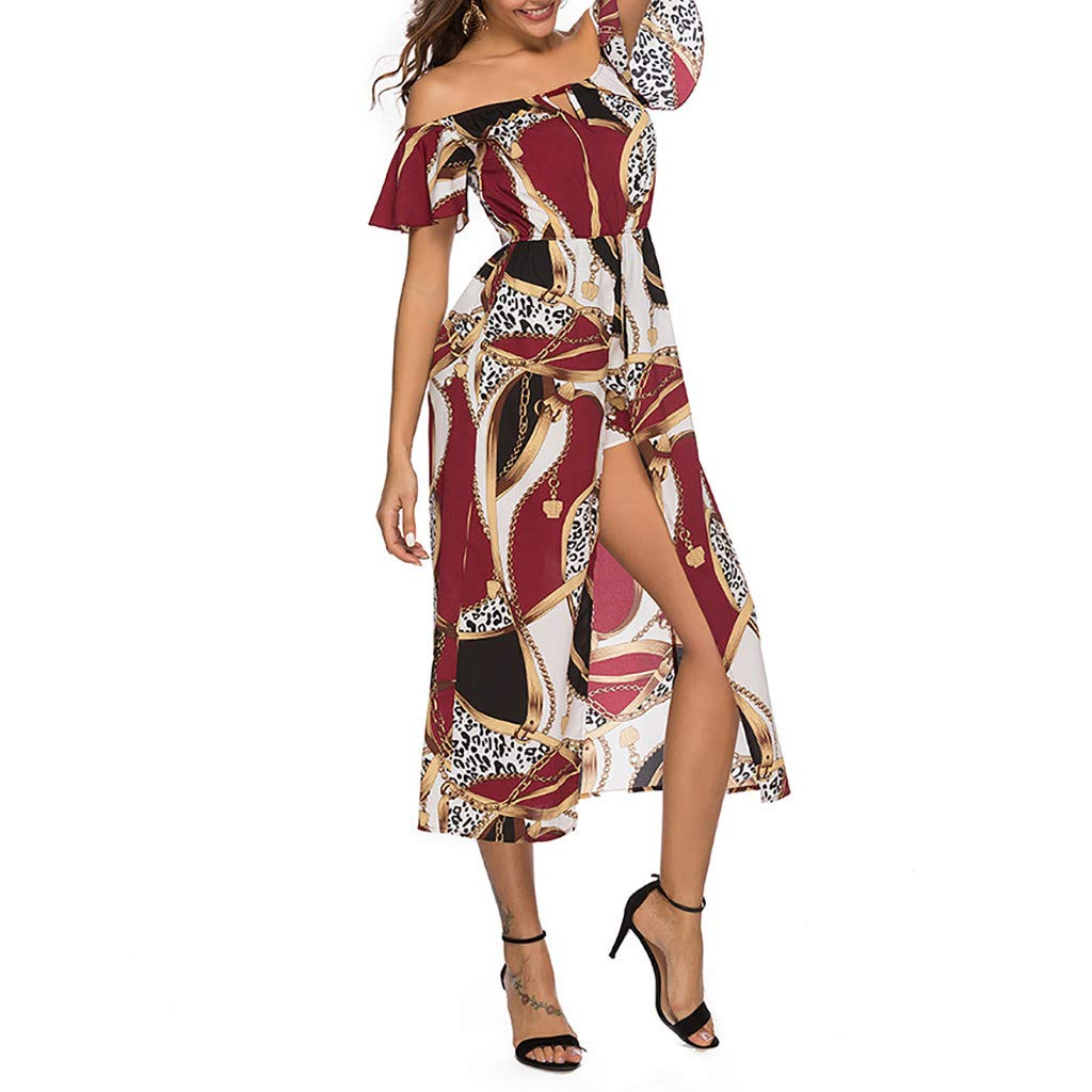 Women Summer Dress,nikunLONG Womens Floral Maxi Dress Bohemian Slit Off Shoulder Wrap Long Dresses