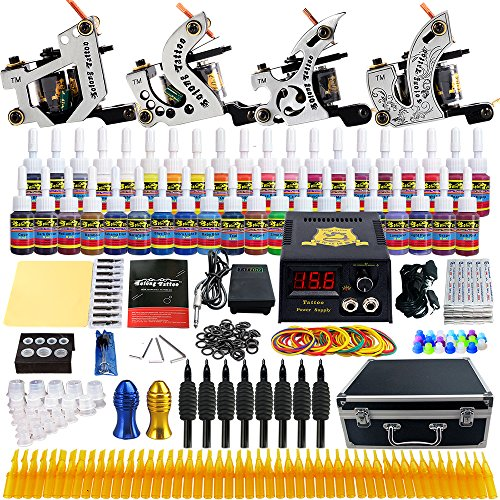Solong Tattoo Complete Starter Beginner Tattoo Kit 4 Pro Machine Guns 54 Inks Power Supply Foot Pedal Needles Grips Tips TK459 by Solong Tattoo