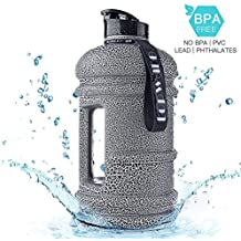 2018 USA New Material Tritan Plastic Hot Cold Water Jug Container Big Capacity 2.2L 75oz Half Gallon Large Leakproof BPA Free Water Bottle for Fitness Camping Bicycle Gym
