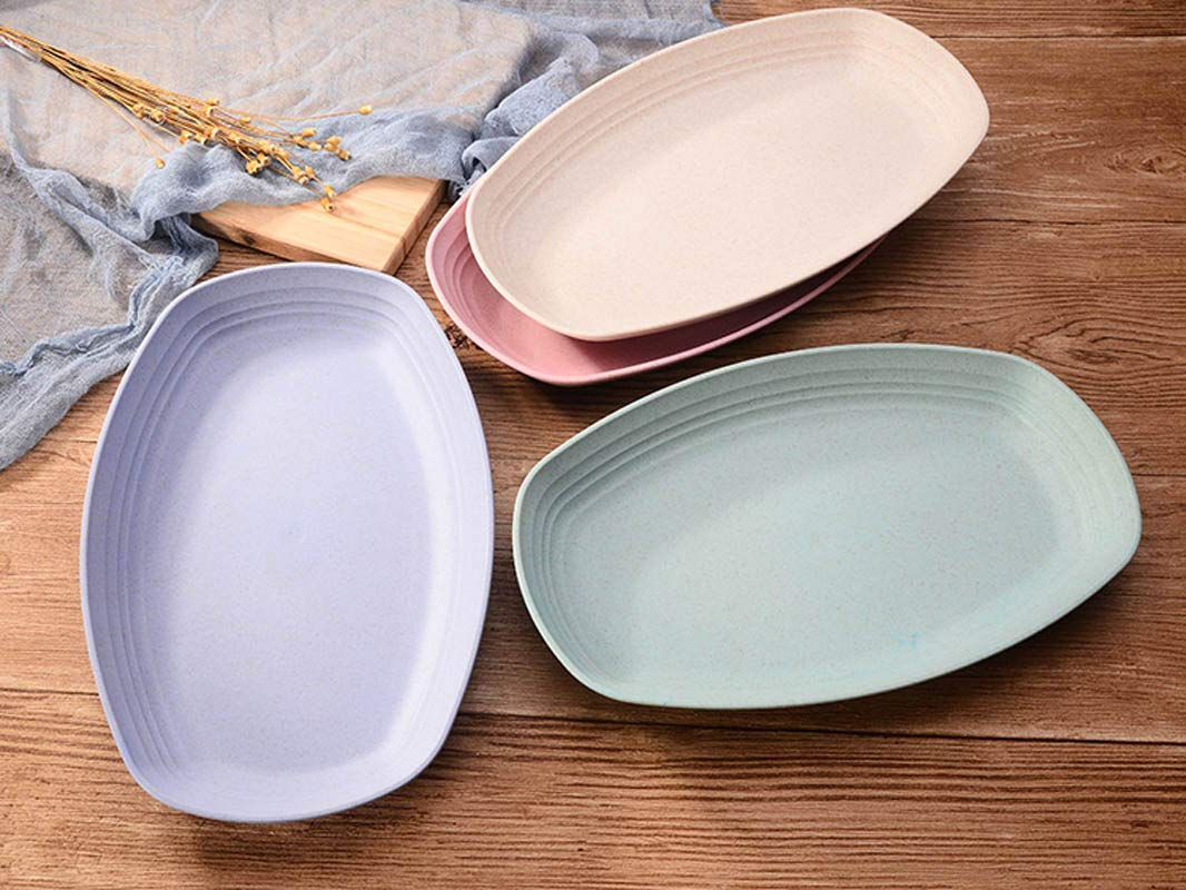 Dishwasher /& Microwave Safe BPA free/Dinner Set/for Kids/Children Baby Adult 4 Pack 11.8/'/'7.3/'/'/Degradable/Unbreakable Lightweight/Rectangle/Plates Sets Non-toxin Wheat Straw Dinner Plates