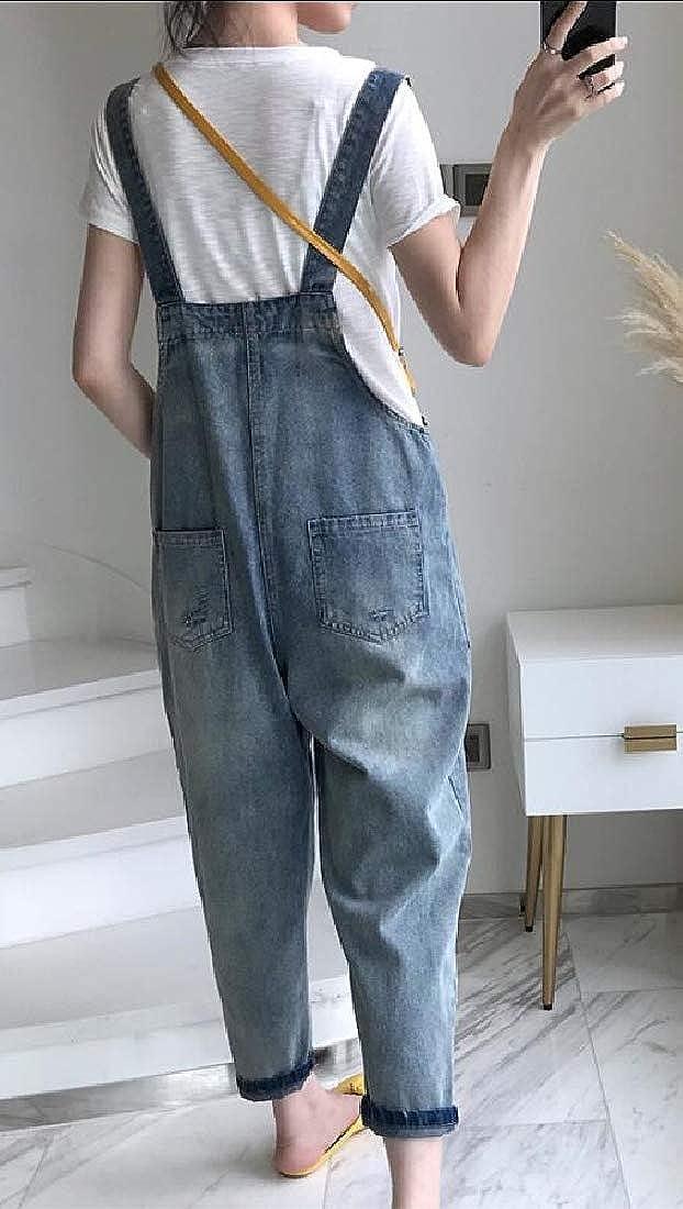RRINSINS Womens Denim Dungarees Long Denim Bib Overalls Jumpsuit Playsuit Jeans Trousers