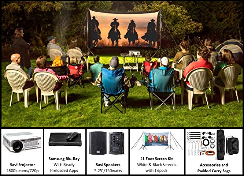 Recreation Series | Outdoor/Indoor Projecter, Projector Screen and Surround System | 11' Dual Screen, Savi 720p HD Projector, 2 Savi 5.25