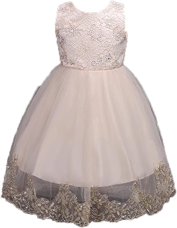 ADHS Kids Baby Girls Flower Floral Wedding Gowns Prom Lace Dresses Rose