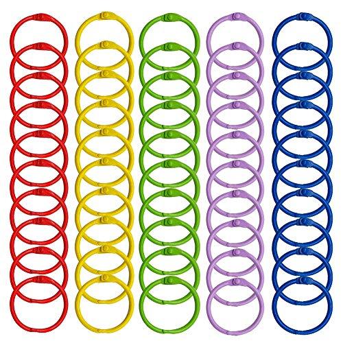 WINKO Colored Book Rings, 50 Pcs 1.2 inch Multi-Color Metal Loose Paper Leaf Notebook Binder Rings Keychains Key Rings
