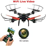 New SkyCo Q222K Rc Wifi Fpv Wifi Drone Quadcopter with HD Camera Live Video One-Key-Return RFT Headless Helicopter Altitude Hold,4 Ch 2.4ghz 6-gyro,Headless System (Black)