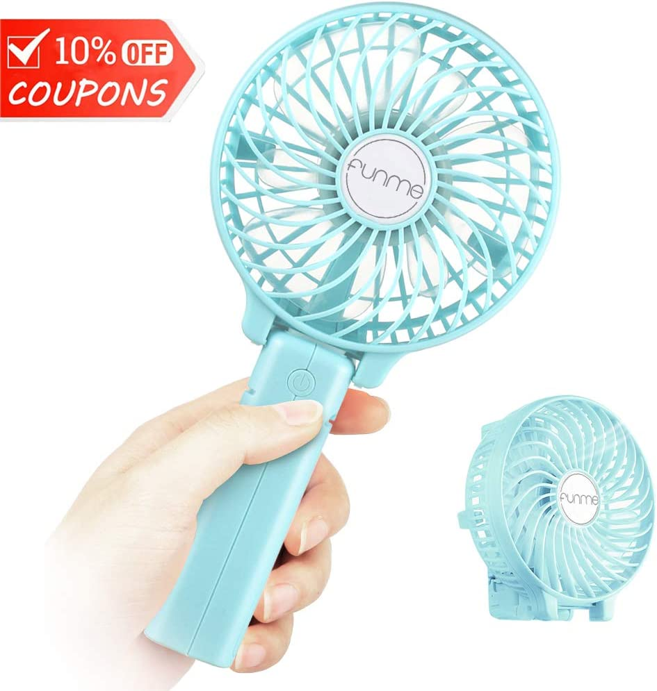 Funme Mini Handheld Fan, USB Desk Fan, Small Personal Portable Table Fan with USB Rechargeable Battery Operated Cooling Folding Electric Fan for Travel Office Room Household Green