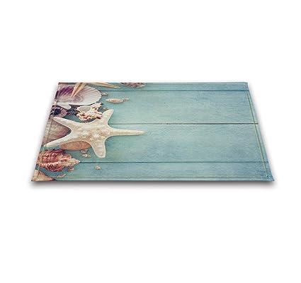Beach Themed Bathroom Rugs | Amazon Com Lb Seashell Print Bathroom Rugs Bath Mats Non Slip